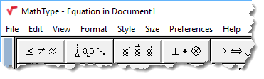 "MathType title bar showing ""Equation in Document 1""."