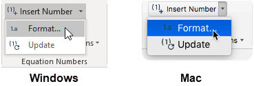 Choosing the Format Equation Numbers command in Windows (left) and Mac (right).