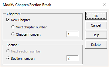 Modify Chapter/Section Break dialog