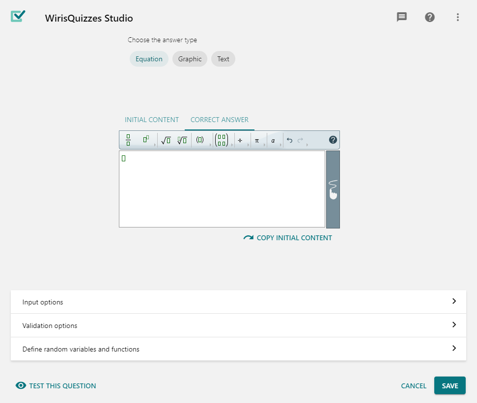 Basic guide to question creation with Wiris Quizzes - Wiris